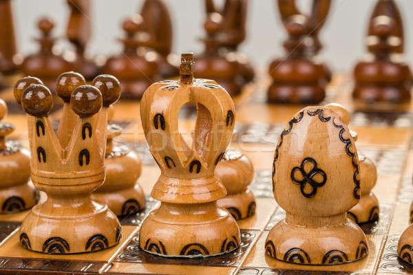 Tabuleiro de xadrez foco branco rei rainha Foto stock © artush