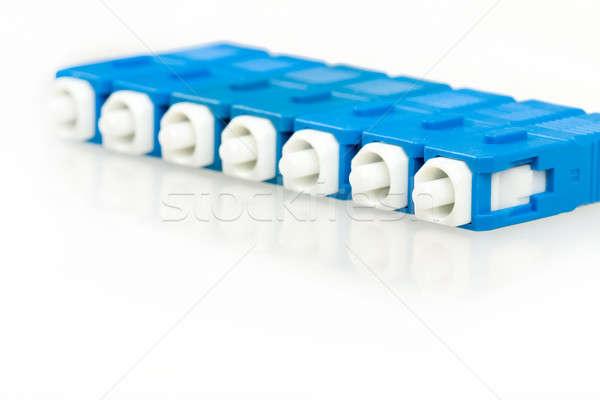Azul fibra óptico reflexión aislado blanco Foto stock © artush