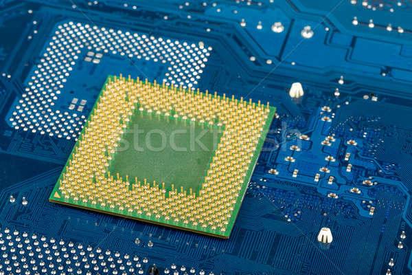 マクロ コンピュータ プロセッサ 青 マザーボード 回路 ストックフォト © artush