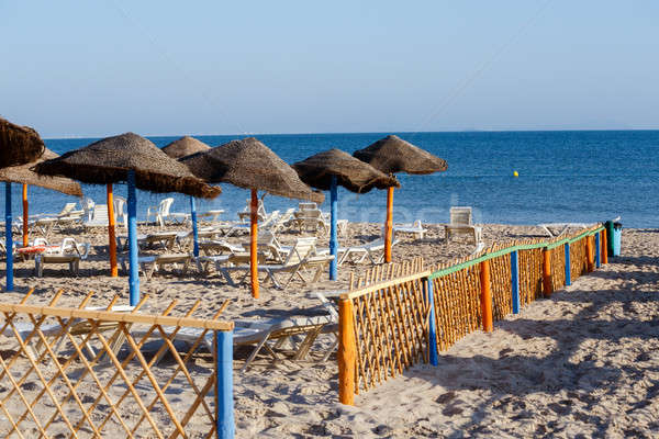 tunisian beach in morning without people Stock photo © artush
