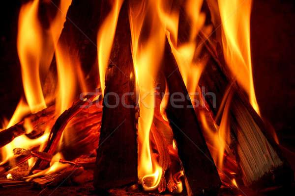 Tűzifa égő kandalló közelkép tűz fény Stock fotó © artush