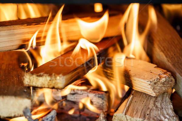 firewood burning in fireplace Stock photo © artush