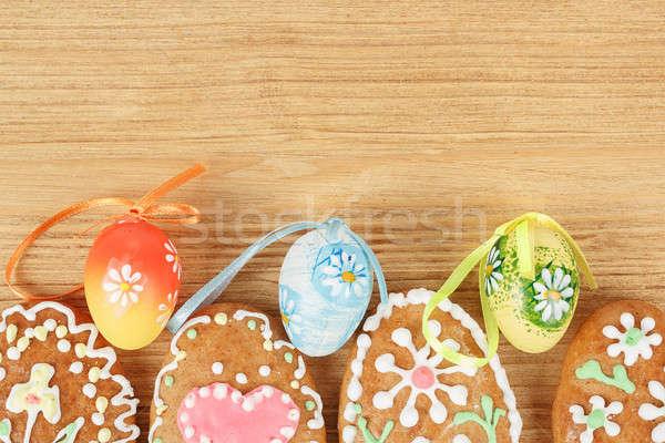 Húsvét színes tojás fából készült tavasz fa terv Stock fotó © artush