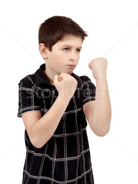 Teen jongen bokser treinen defensie gezicht Stockfoto © artush