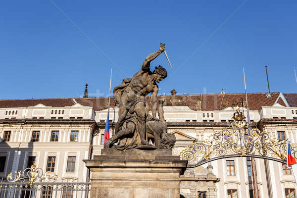 view of statue behind Prague castle Stock photo © artush