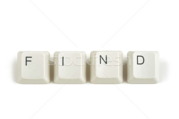 Talál billentyűzet kulcsok fehér szöveg izolált Stock fotó © artush