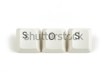Sos teclado teclas branco texto isolado Foto stock © artush