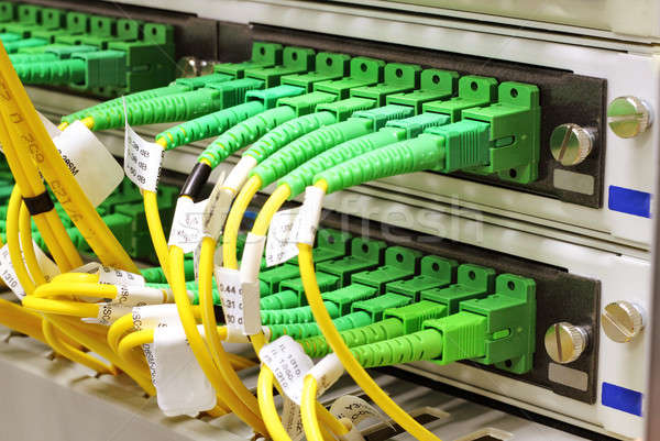 SC connectors in patch panel Stock photo © artush