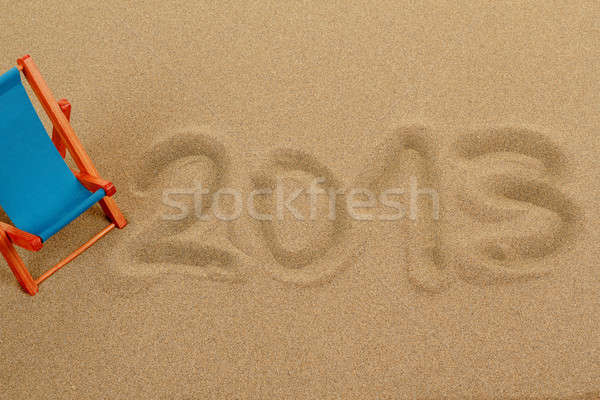 vacation background with sun lounger and text 2013 Stock photo © artush