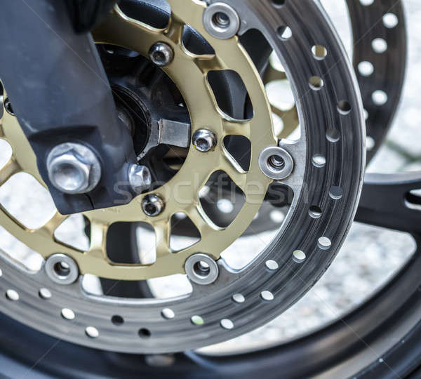 Stock photo: motorcycle wheel brake background in motorbike, motorcycle wheel