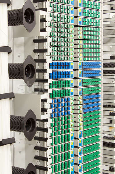 Fibra ottico rack alto blu verde Foto d'archivio © artush