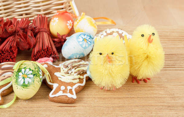 easter decoration, ginger bread, chicken and painted eggs Stock photo © artush