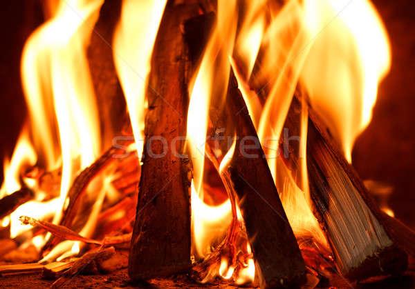 Brandhout brandend brand licht oranje Stockfoto © artush