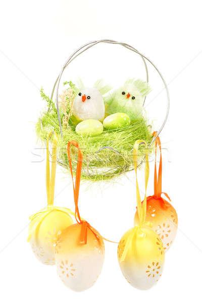 イースター 装飾 色の卵 鳥 白 花 ストックフォト © artush