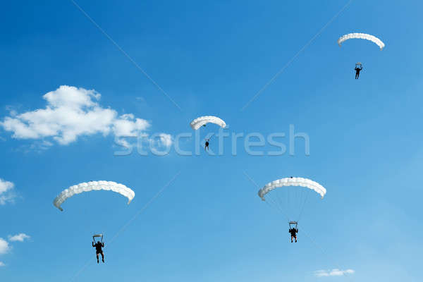 unidentified skydiver on blue sky Stock photo © artush