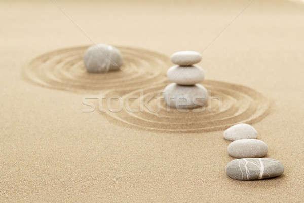 Photo stock: équilibre · zen · pierres · sable · trois · peu · profond