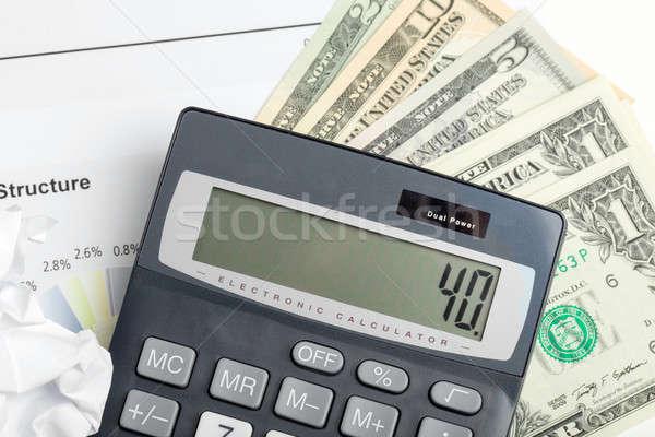 USA dollár pénz bankjegyek számológép üzlet Stock fotó © artush