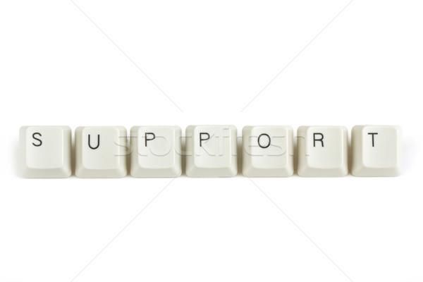 Támogatás billentyűzet kulcsok fehér szöveg izolált Stock fotó © artush