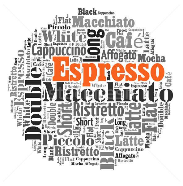 Kaffee Getränke Worte Wolke Collage Plakat Stock foto © artush
