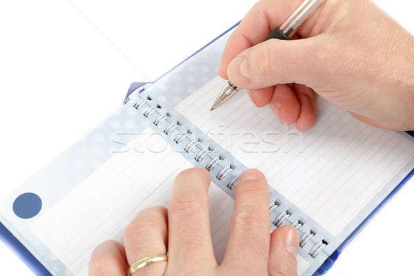 Hand begin schrijven merkt witte Stockfoto © artush