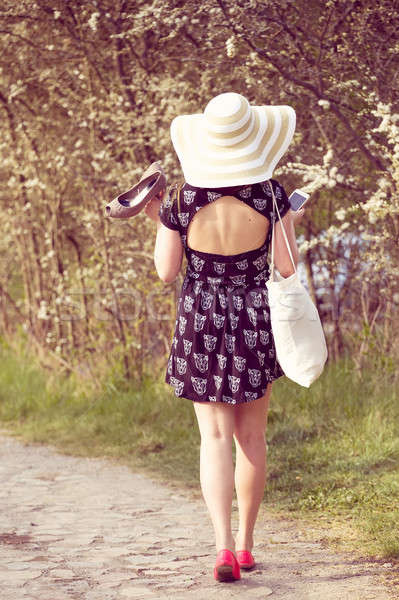 Back view of cheerful fashionable woman in stylish hat and frock Stock photo © artush