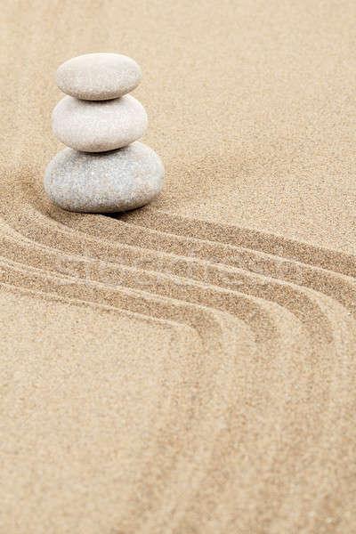 Równowagi zen kamienie piasku trzy streszczenie Zdjęcia stock © artush