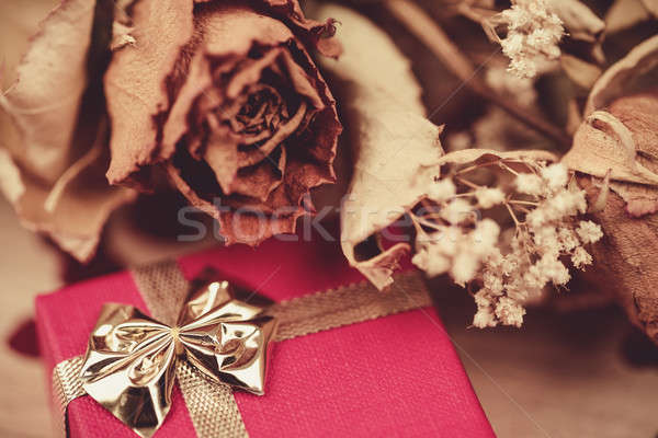 bouquet of dried roses and red box, valentine Stock photo © artush
