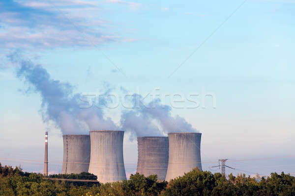Cooling towers at the nuclear power plant Stock photo © artush