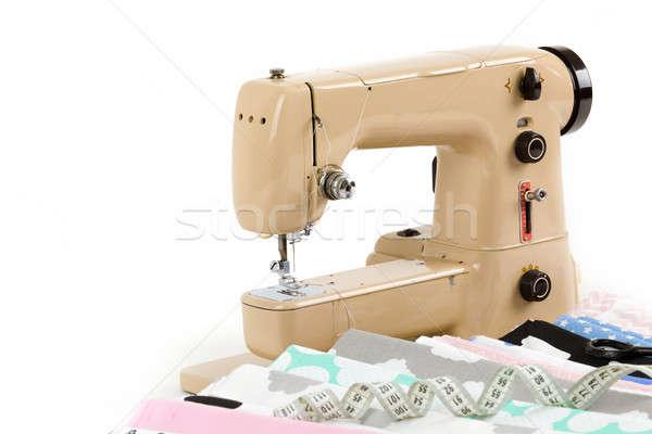 La máquina de coser tejido medición cinta algodón sastre Foto stock © artush