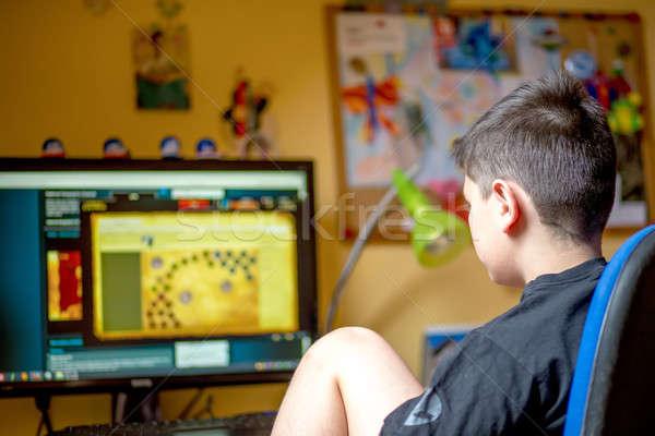 мальчика домой играет игры подростку Сток-фото © artush