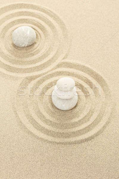 Photo stock: équilibre · zen · pierres · sable · trois · résumé
