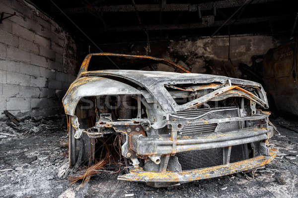 Close up photo of a burned out car Stock photo © artush