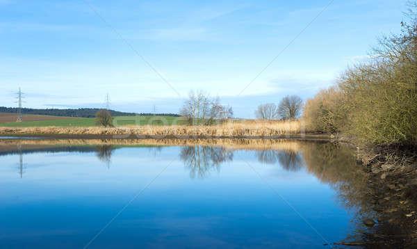 Gölet kış mavi gökyüzü kırsal sahne manzara güzellik Stok fotoğraf © artush