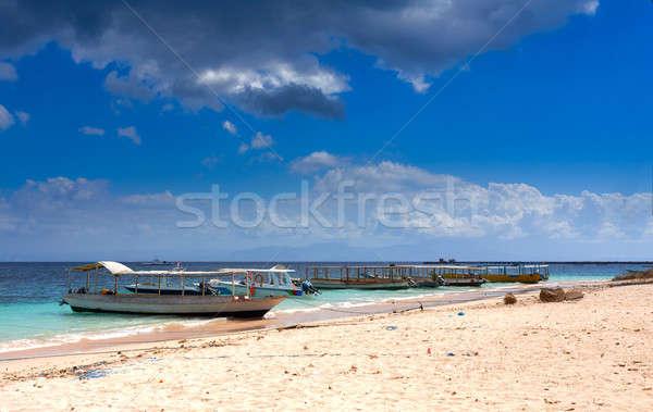 Rüya plaj tekne bali Endonezya kum Stok fotoğraf © artush