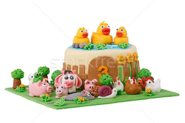 Születésnapi torta farm marcipán állatok szám izolált Stock fotó © artush