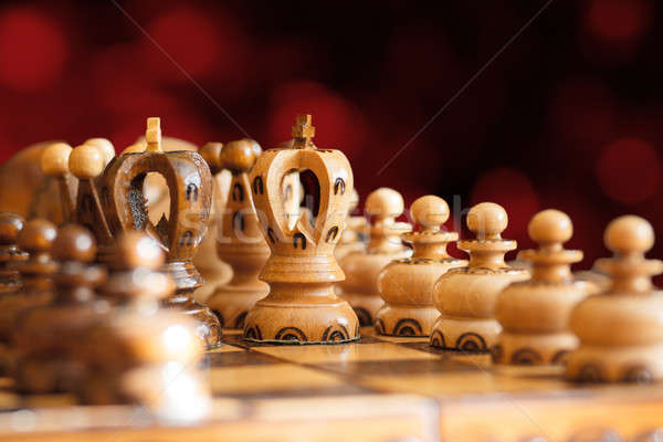 chess board focus to white king Stock photo © artush