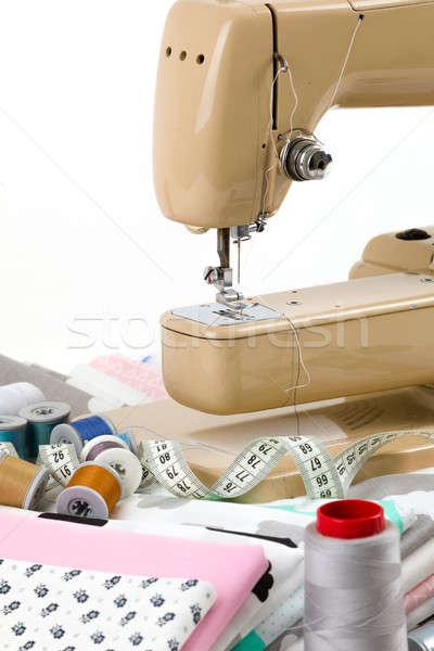 Varrógép szövet mérés szalag pamut szabó Stock fotó © artush