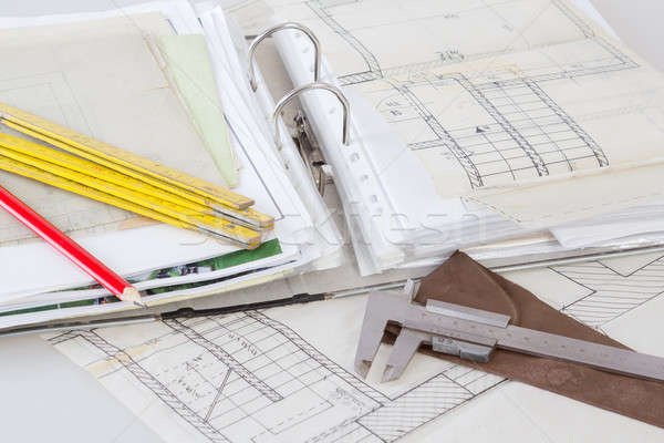 Architectural plans of the old paper measuring tools and file with the project Stock photo © artush