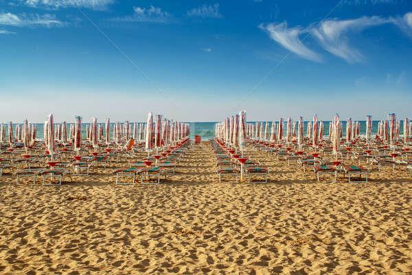 withdrawn umbrellas and sunlongers on the sandy beach Stock photo © artush