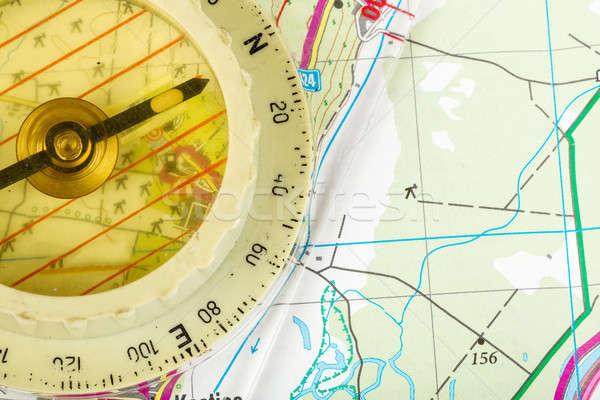 Vecchio bussola mappa dettagliato territorio Foto d'archivio © artush