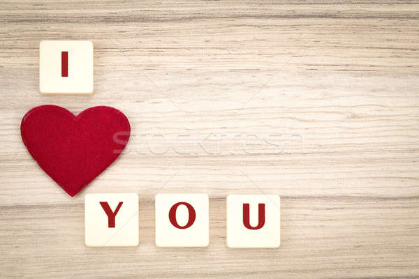 valentine's hearts on a wooden background and tex i love you Stock photo © artush