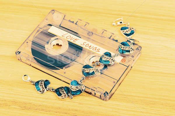 Audio kazetta szalag szeretet címke fából készült Stock fotó © artush