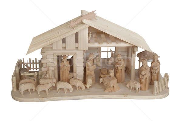 Nativity Scene made of wood, isolated Stock photo © artush