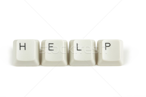help from scattered keyboard keys on white Stock photo © artush
