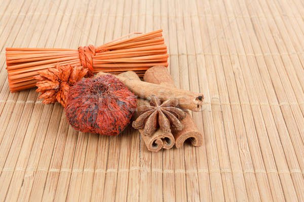 Star Anise and cinnamon on wooden background  Stock photo © artush