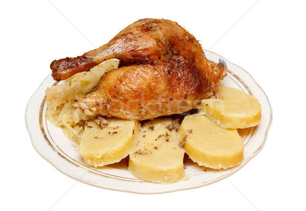 Traditional czech roasted duck with cabbage and dumplings Stock photo © artush