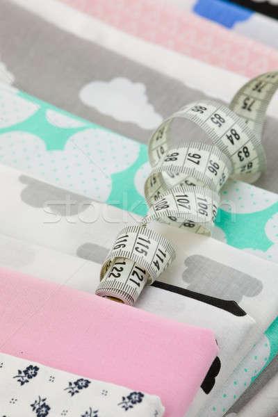 Cotone tessuto materiale su misura misurazione nastro Foto d'archivio © artush