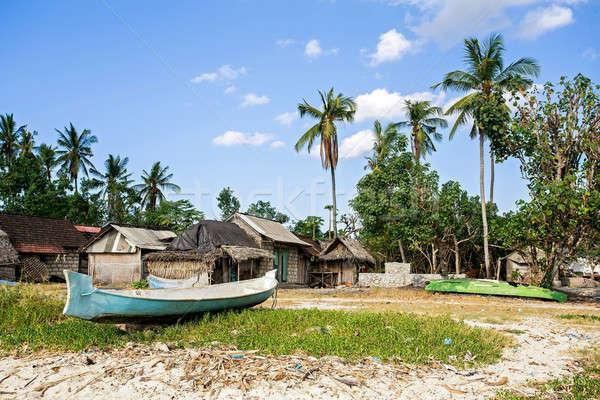 Indonéz ház tengerpart hagyományos szegény fülke Stock fotó © artush