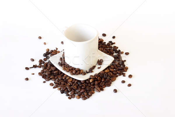 coffee mug spoon with spilled coffee on white  Stock photo © artush
