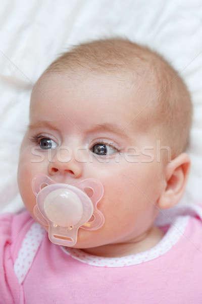 Godny podziwu baby pacyfikator twarz usta dziewczyna Zdjęcia stock © artush